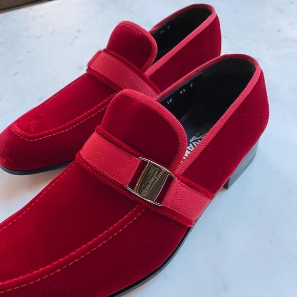 Salvatore Ferragamo Danny Red Velvet Loafers